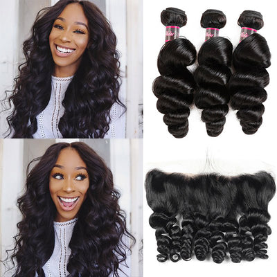 Hairsmarket Virgin Brazilian Loose Wave Human Hair 3 Bundles With 13*4 Lace Frontal Pre Plucked With Baby Hair