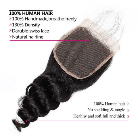 Ishow Virgin Loose Wave Human Hair 4x4 Lace Closure On Sale