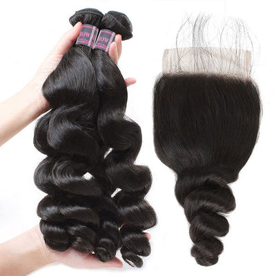 Ishow Virgin Malaysian Loose Wave Human Hair Weft 4 Bundles With Lace Closure