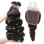 Ishow Indian Loose Wave Virgin Human Hair Extensions 4 Bundles With 4x4 Lace Closure
