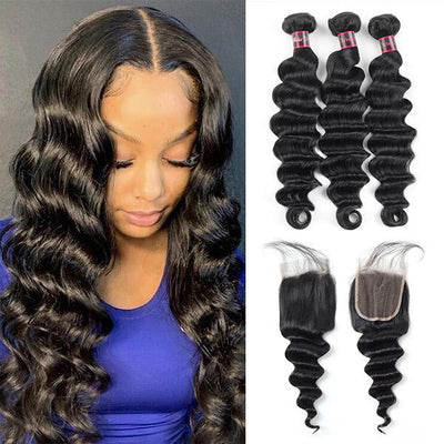 Hairsmarket 8A Ishow Virgin Hair Loose Deep Wave Hair Buy 3 Bundles Get 1 FREE Closure 100% Virgin Remy Human Hair Bundles