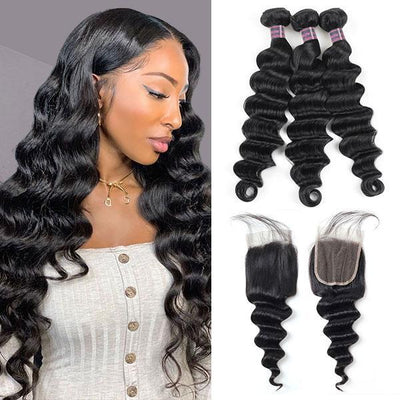 Ishow Malaysian Virgin Hair Loose Deep Wave 3 Bundles With 4*4 Lace Closure