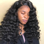 8A Peruvian Virgin Hair Loose Deep Wave 3 Bundles With 13*4 Lace Frontal