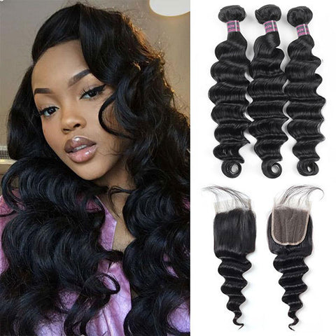 Brazilian Loose Deep Wave 3 Bundles With 4*4 Lace Closure Human Hair Weave