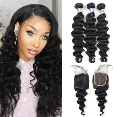 8A Peruvian Hair Loose Deep Wave Virgin Human Hair 3 Bundles With 4*4 Lace Closure