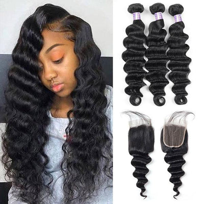 8A Peruvian Virgin Hair Loose Deep Wave Human Hair 3 Bundles With 4*4 Lace Closure