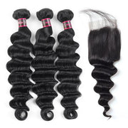 Hairsmarket Brazilian Loose Deep Wave Virgin Hair 3 Bundles With Closure