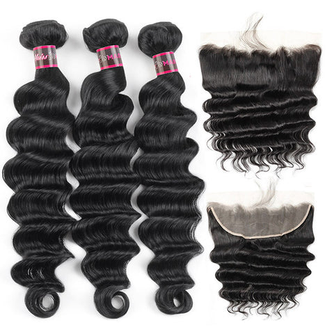 Hairsmarket Brazilian Loose Deep Virgin Human Hair 3 Bundles With Lace Frontal 13x4 Closure