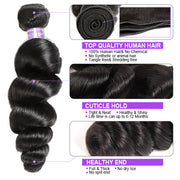 8A Brazilian Loose Wave Human Hair 3 Bundles With 4*4 Lace Closure