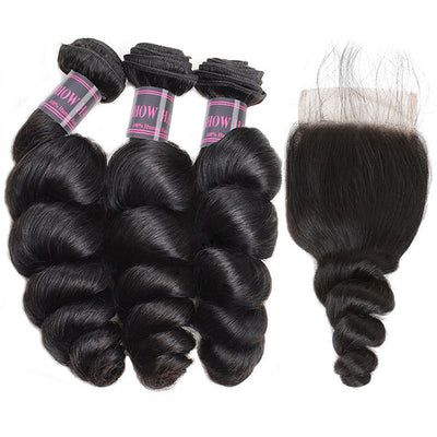 Brazilian Hair Loose Wave Unprocessed Virgin Hair 3 Bundles With 4*4 Lace Closure