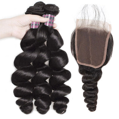 Peruvian Hair Loose Wave Virgin Human Hair 3 Bundles With 4*4 Lace Closure