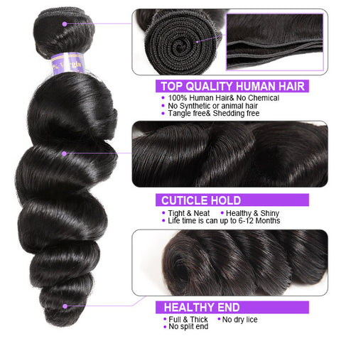 9A Loose Wave Virgin Remy Hair 3 Bundles With 4x4 Lace Closure 100% Human Hair Extensions