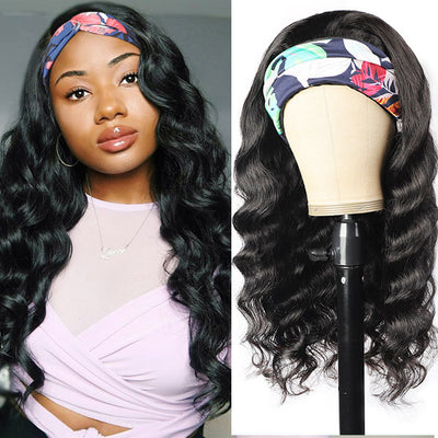 Loose Wave Human Hair Wigs With Headband Attached