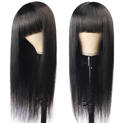 Straight Virgin Human Hair Wigs Machine Made Virgin Hair Wig With Neat Bangs