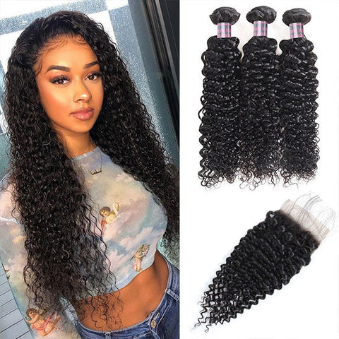 8A Ishow Curly Hair Buy 3 Bundles Get 1 FREE Closure