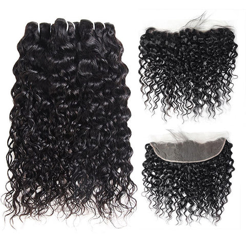 Ishow 8A Indian Water Wave Human Hair 3 Bundles With 13*4 Lace Frontal Closure