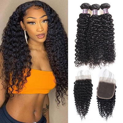 8A Malaysian Curly Hair Unprocessed Virgin Human Hair 3 Bundles With 4*4 Lace Closure