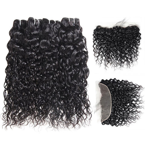 Ishow 4 Bundles Virgin Water Wave Human Hair With Lace Frontal Closure Natural Hairline