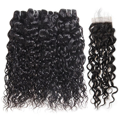 Ishow Virgin Water Wave Weave 4 Bundles With 4x4 Lace Closure 100% Peruvian Hair