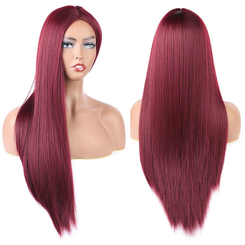 Long Straight Synthetic Wigs Middle Part Wine Red Synthetic Hair Wigs