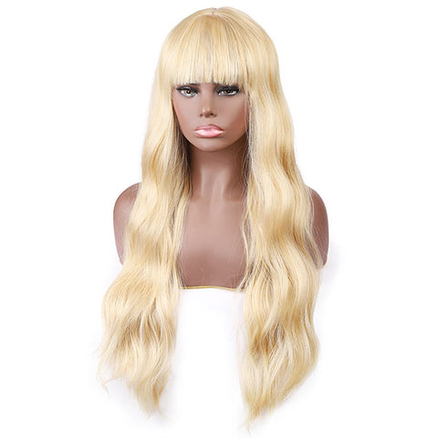 Long Blonde Wigs with Bangs for Women Natural Looking Wigs, No Lace Wig