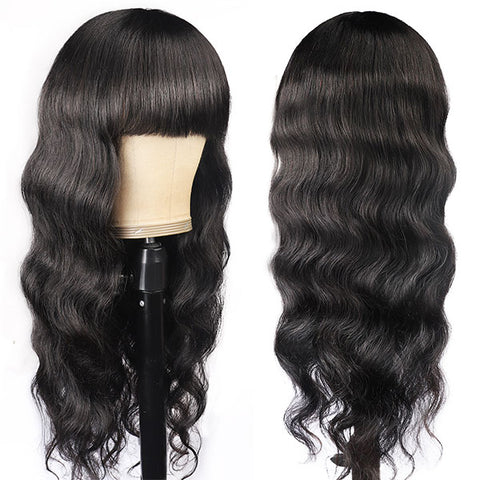 2 Pieces Wigs Straight Lace Front Wigs, 100% Human Hair Wigs With Bangs