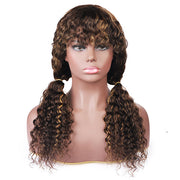 Highlight Color Human Hair Wigs With Bangs Deep Wave No Lace Wig