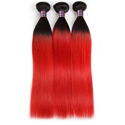 Ombre Virgin Straight Human Hair Weave Extensions With Lace Closure 1B/Red Color
