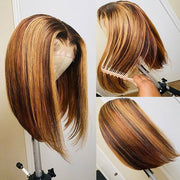 Highlight Bob Wigs Straight Middle Part Straight Human Hair Wigs