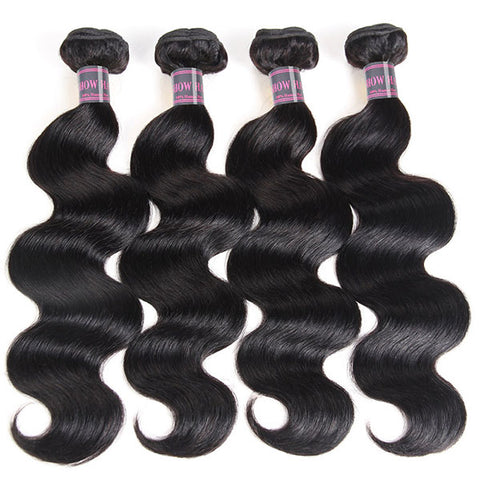 Malaysian Hair 4 Bundles With Lace Closure Unprocessed Body Wave Hair Extensions