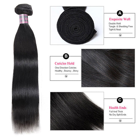 Ishow Brazilian Straight Hair Lace Frontal Closure With 4 Bundles Human Hair Weave