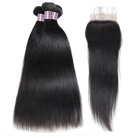 Ishow Non Remy Peruvian Virgin Straight Human Hair 3 Bundles With 4*4 Lace Closure