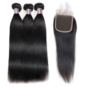 Ishow Hair Malaysian Straight Human Hair 3 Bundles With 4*4 Lace Closure Virgin Hair
