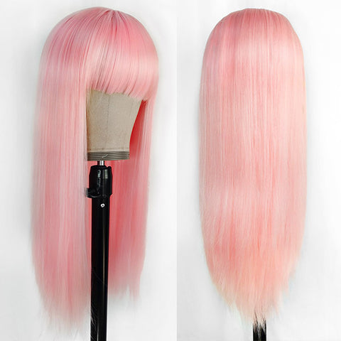 Long Synthetic Wigs With Bangs Halloween Pink Hair Wigs, Blonde Hair Wigs