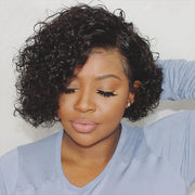 Hairsmarket Bob Short Wigs Curly Human Hair Lace Front Wigs Pixie Cut Wigs