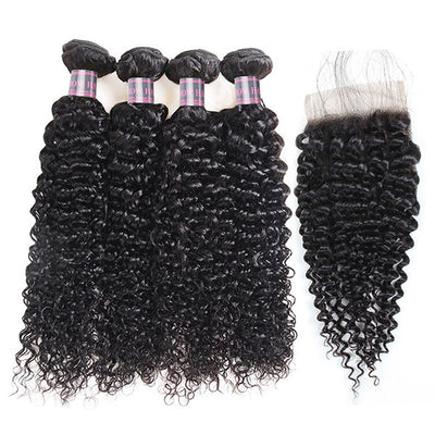 Malaysian Virgin Hair Kinky Curly 4 Bundles With Closure 100% Human Hair