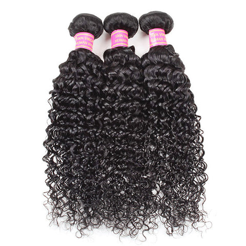 Meetu 8A Curly Hair 3 Bundles With 4*4 Lace Closure Peruvian Virgin Human Hair Extensions