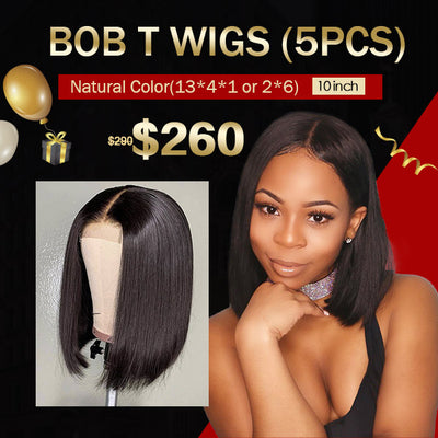 $260 Flash Sale Short Bob Lace Wigs (10inch 5Pcs)