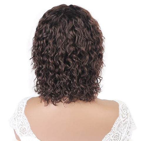 Short Bob Wigs Water Wave Machine Made Wigs With Bangs Brown Color