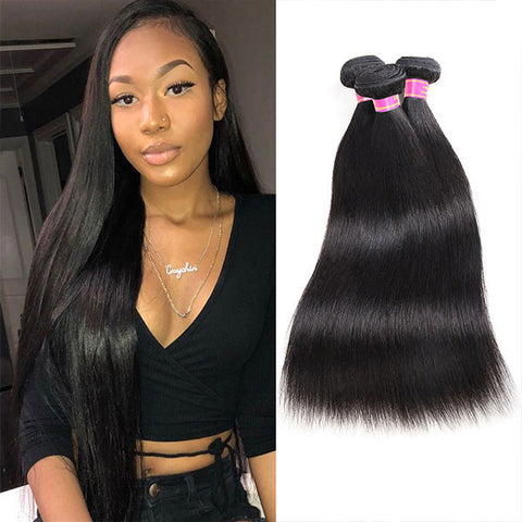 Meetu 8A Virgin Brazilian Straight Human Hair 3 Bundles Unprocessed Hair Extensions