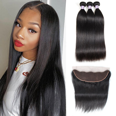 10A Brazilian Virgin Straight Human Hair 3 Bundles With HD Lace Frontal Closure