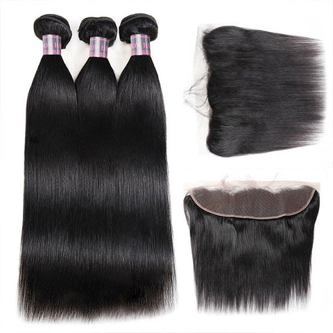 Ishow Malaysian Straight Virgin Hair 3 Bundles With 13*4 Lace Frontal Unprocessed Virgin Hair