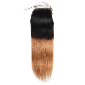 Ombre Straight Virgin Human Hair 3 Bundles With Lace Closure T1B/30
