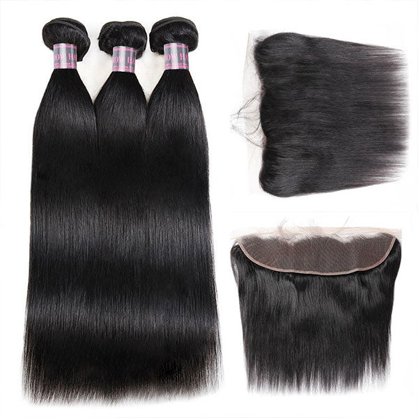 Ishow Malaysian Straight Virgin Hair 3 Bundles With 13X4 Lace Frontal
