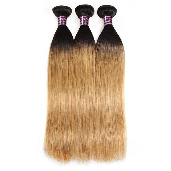 100% Virgin Ombre Straight Human Hair 3 Bundles With Lace Closure T1B/27