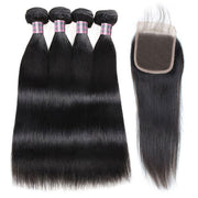 Ishow Brazilian Straight Hair 4 Bundles With 4x4 Lace Closure