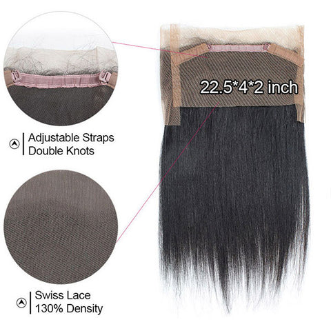 Ishow Straight Hair 360 Lace Frontal Pre-Plucked Virgin Hair Closure With Baby Hair