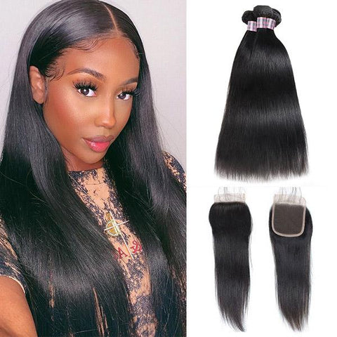 Hairsmarket Peruvian Virgin Straight Human Hair 3 Bundles With 4*4 Lace Closure