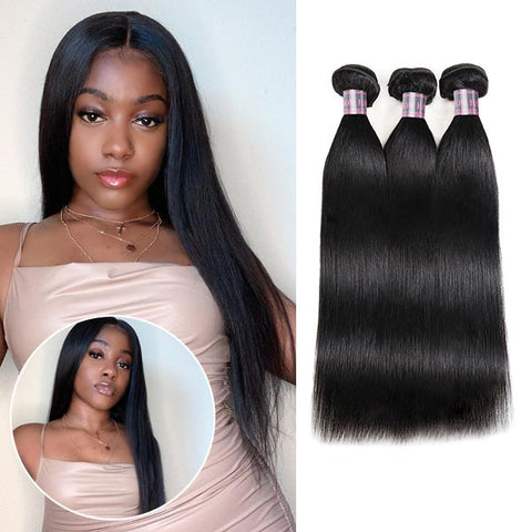 Brazilian Straight Hair 3 Bundles 100% Virgin Human Hair Extensions