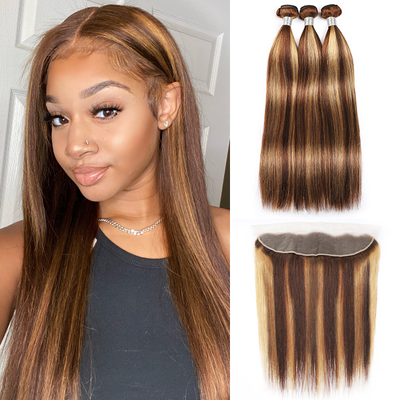 Highlight Human Hair Bundles With Lace Frontal P Color Hair Bundles With Frontal